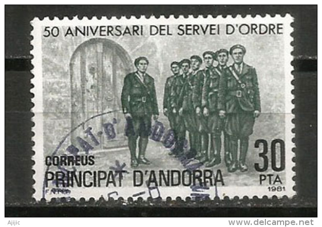 Police Andorrane, Un Timbre Oblitéré, Cachet Rond - Andorre Français
