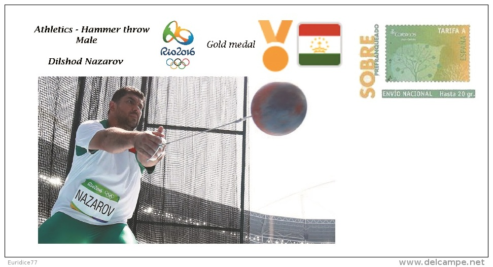 Spain 2016 - Olympic Games Rio 2016 - Gold Medal Athletics Hammer Male Tajikistan Cover - Juegos Olímpicos