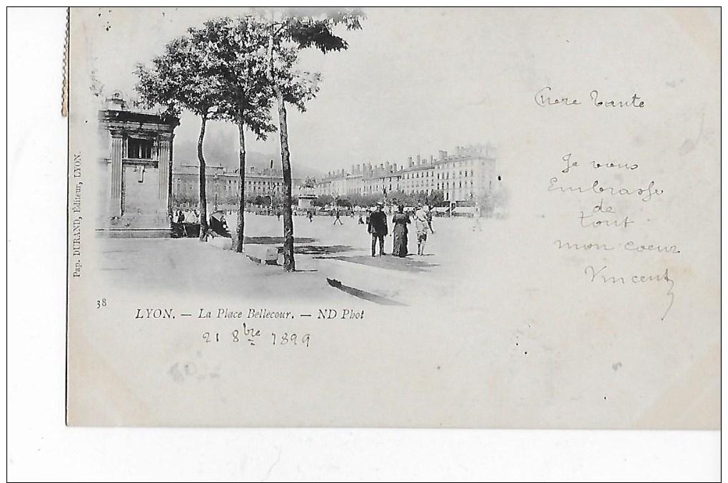 69  -  CPA  Pionnière  De  LYON  -  La  Place  Bellecour  En  1899  (  Animée  ) - Lyon