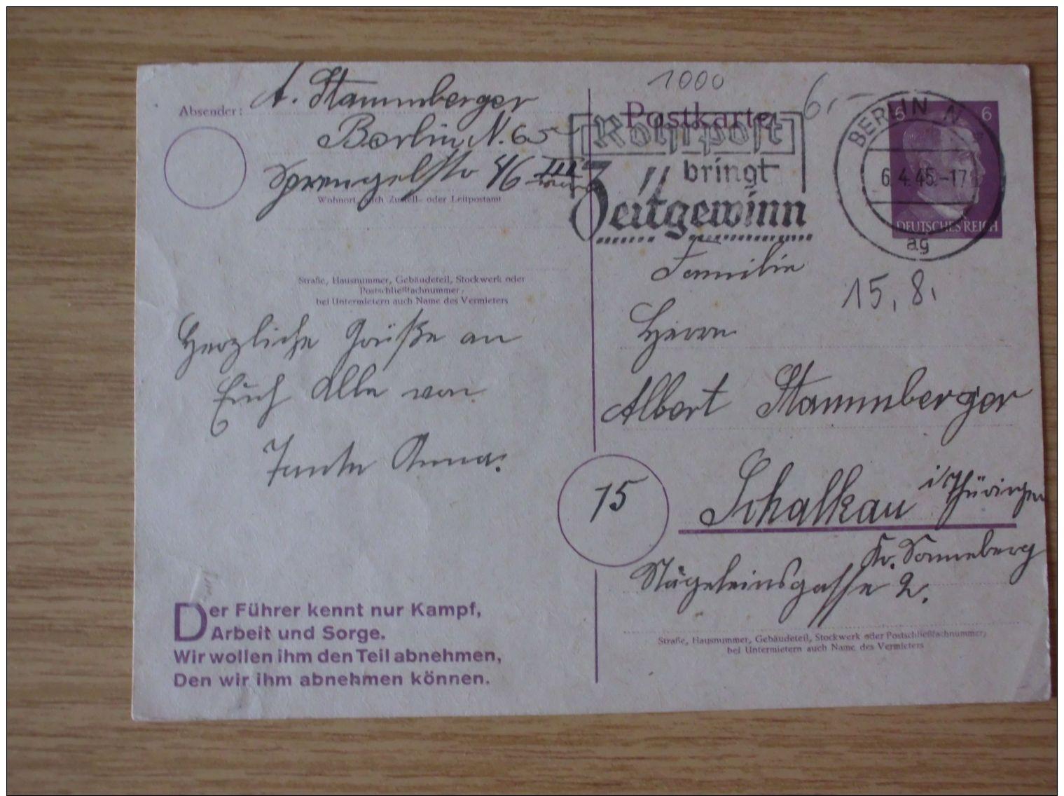 06.04.1945, POSTKARTE Mit AUTOMATENSTEMPEL Von BERLIN, N 4, ROHRPOST BRINGT ZEITGEWINN - Germania