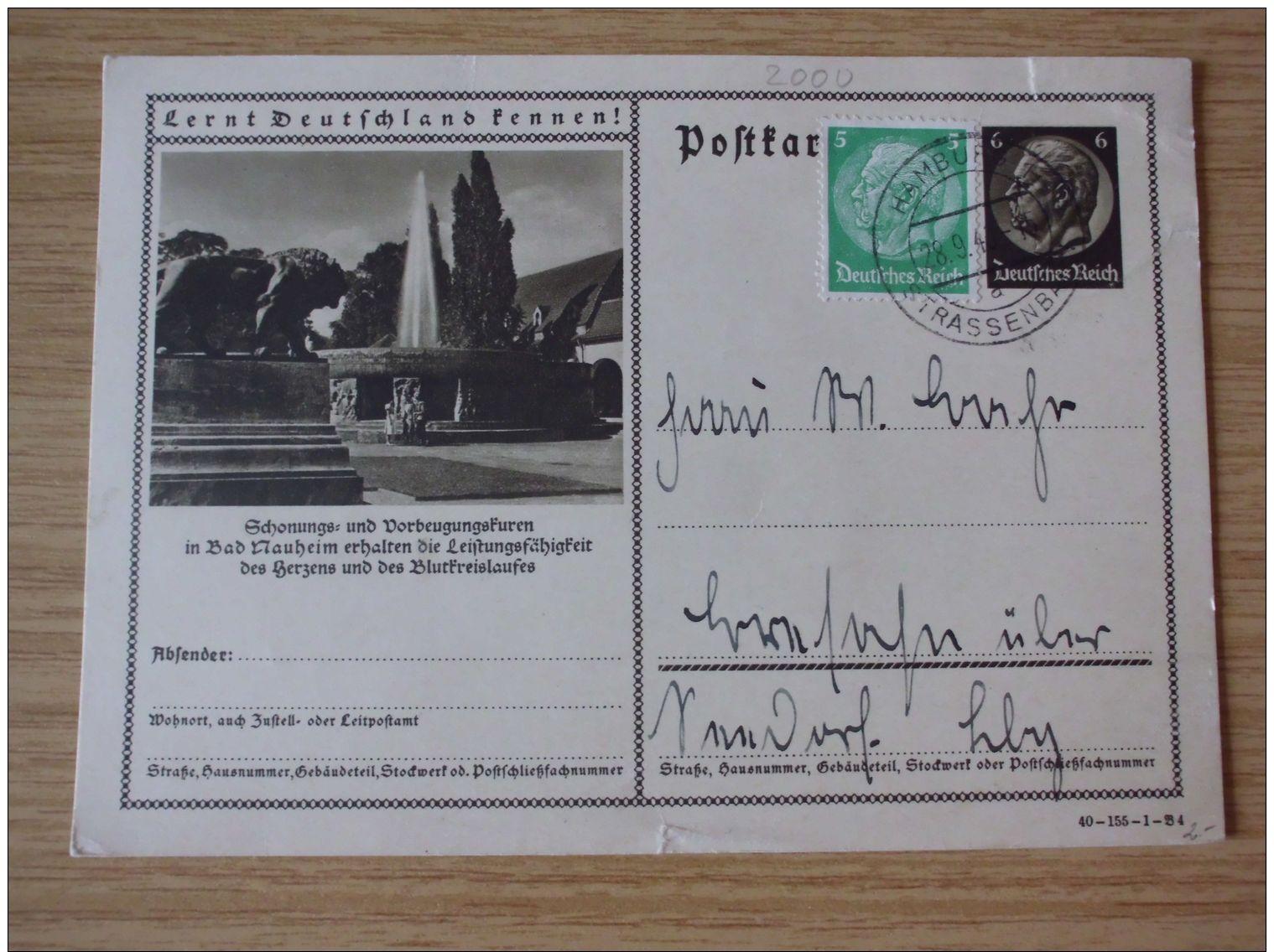 28.09.1940, POSTKARTE BAD NAUHEIM, Mit STEMPEL Von HAMBURG-STRASSENBAHN - Storia Postale