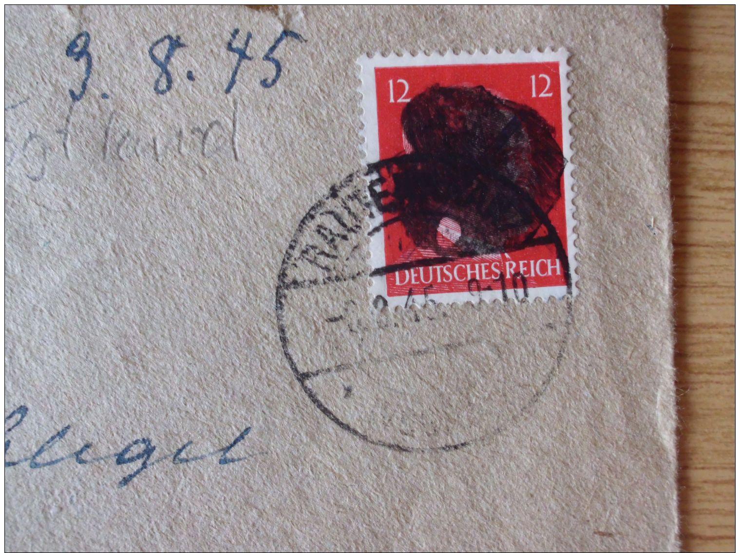 06.08.1945, SÄCHSISCHE SCHWÄRZUNG, BELEG Mit HITLERKOPF Mit STEMPEL Von RAUTENKRANZ - Zona Sovietica