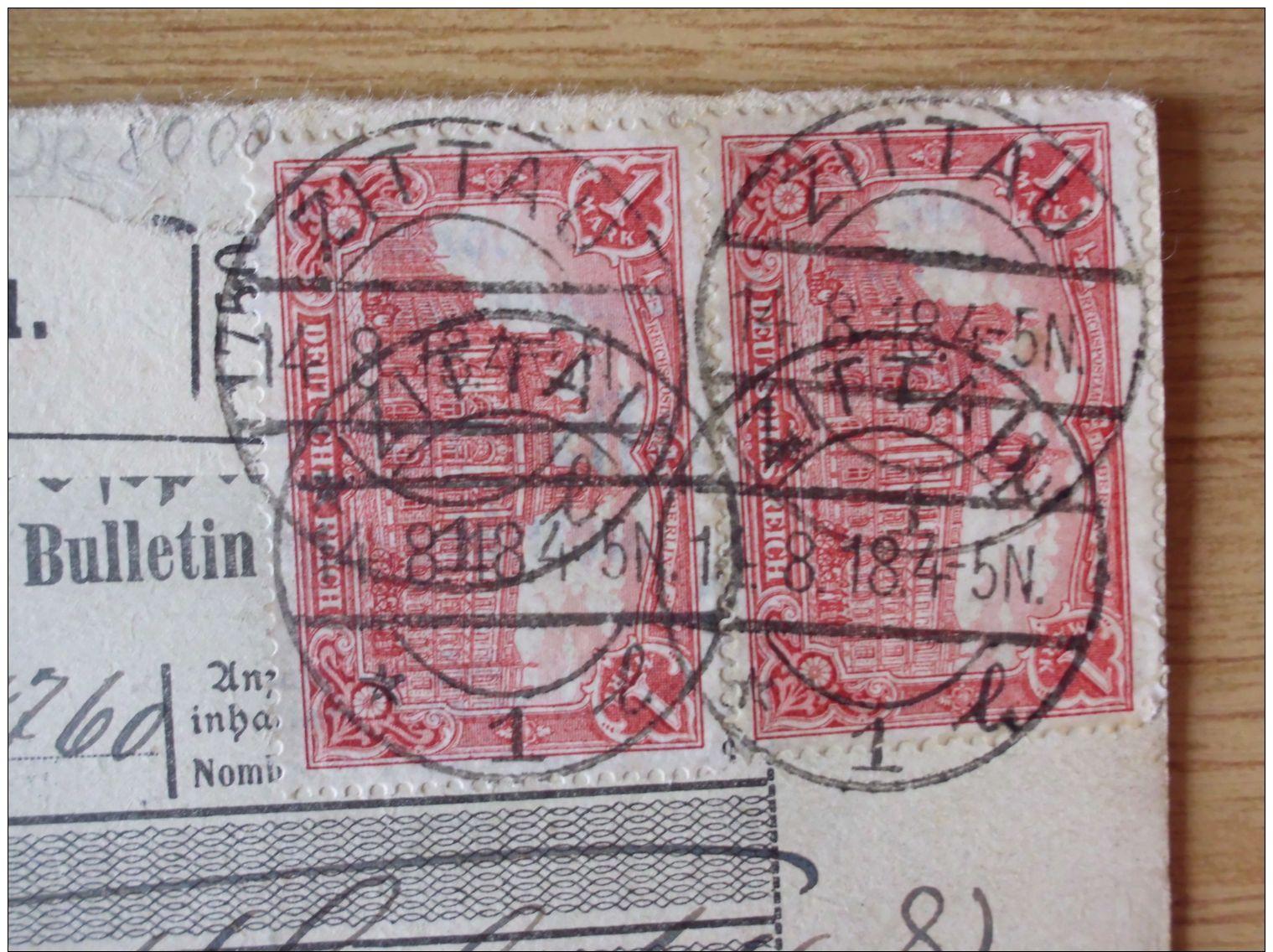 14.08.1918, AUSLANDS-NACHNAHME-PAKETKARTE Von ZITTAU, RATIBOR (Bz. OPPELN) Nach CONSTANTINOPEL - Storia Postale