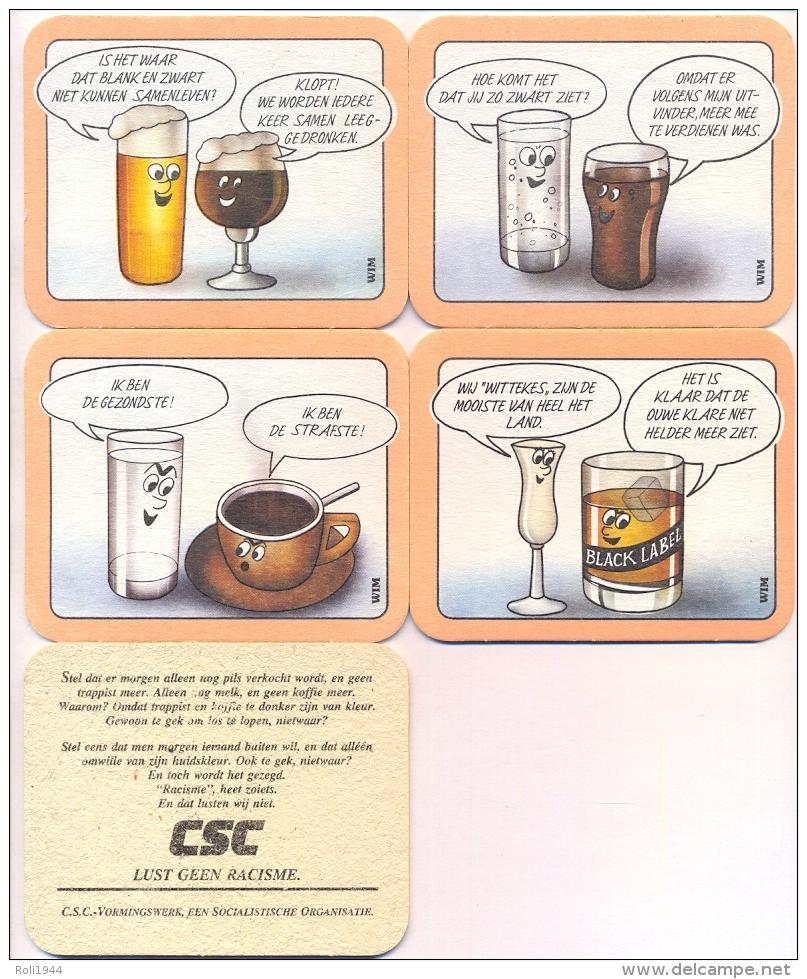 #D111-028 Vier Viltjes CSC Lust Geen Racisme - Sous-bocks