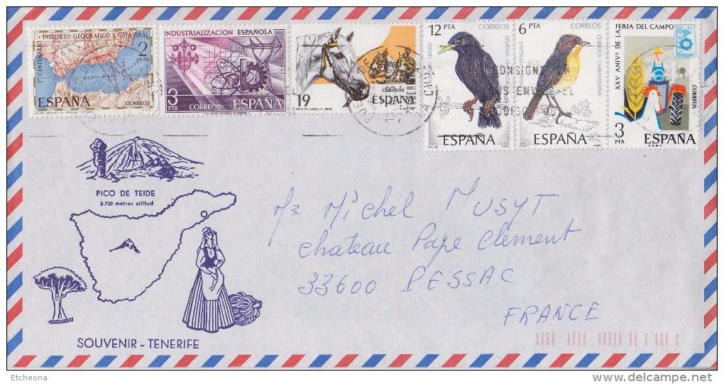 = Souvenir De Tenerife Enveloppe Espagne 6 Timbres  (85 à 87) Oblitérés Destination France Arrivée 17.02.88 - 1981-90 Cartas