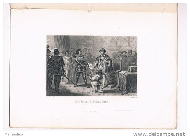1862 Portraits & Vignettes Hist. De France Par Henri Martin N°12 Trois Gravures Sur Acier Sous Papier De Soie - Historical Documents