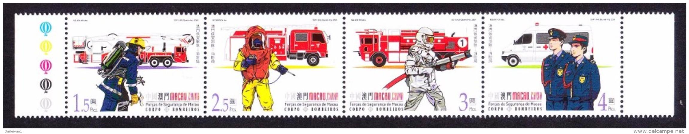 China  Macau 2001 Fire Brigade - Unused Stamps