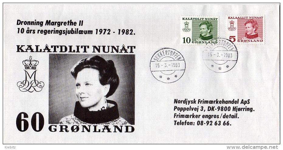 GRÖNLAND 1983 - Sonderkuvert Anl. 10 Jahre Regierung Margarethe - Grönland