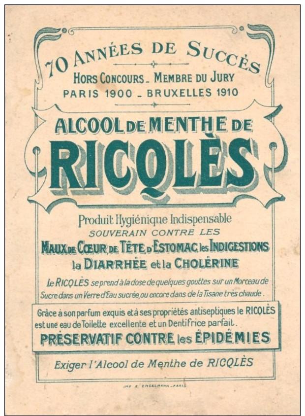 """Publicité Des Ets Ricqlès Et Cie :les Proverbes """" Qui A Bu Boira """" Signée : H.Gerbault - Autres Illustrateurs"""