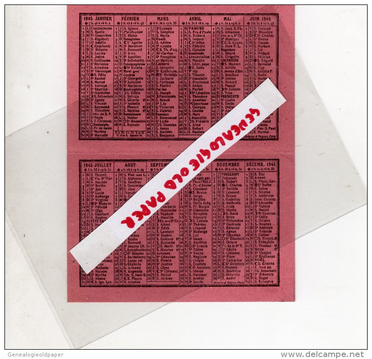 GUERRE 39-45- WW2- MILITARIA- 87-LIMOGES-1945- RARE PETIT CALENDRIER-L' ECHO DU CENTRE-VALMY- FRONT NATIONAL-RESISTANCE - Calendriers
