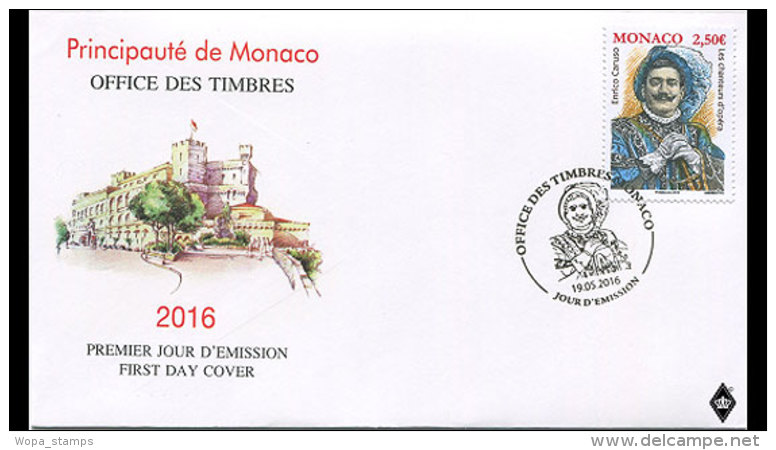 Monaco 2016 First Day Cover - Opera Singers- Enrico Caruso - Unused Stamps
