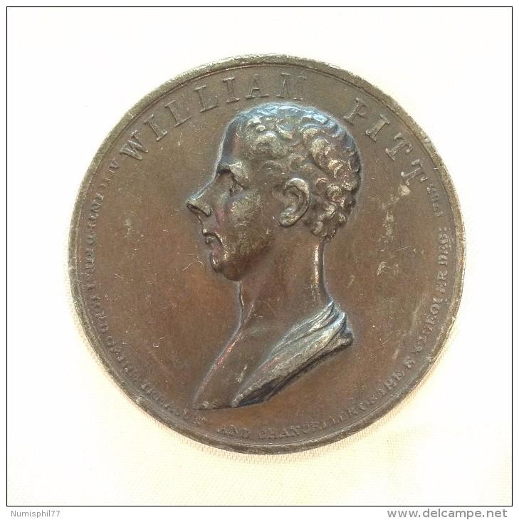 Médaille - WILLIAM PITT Par J.G Hancock  - 1806 - Professionnels/De Société