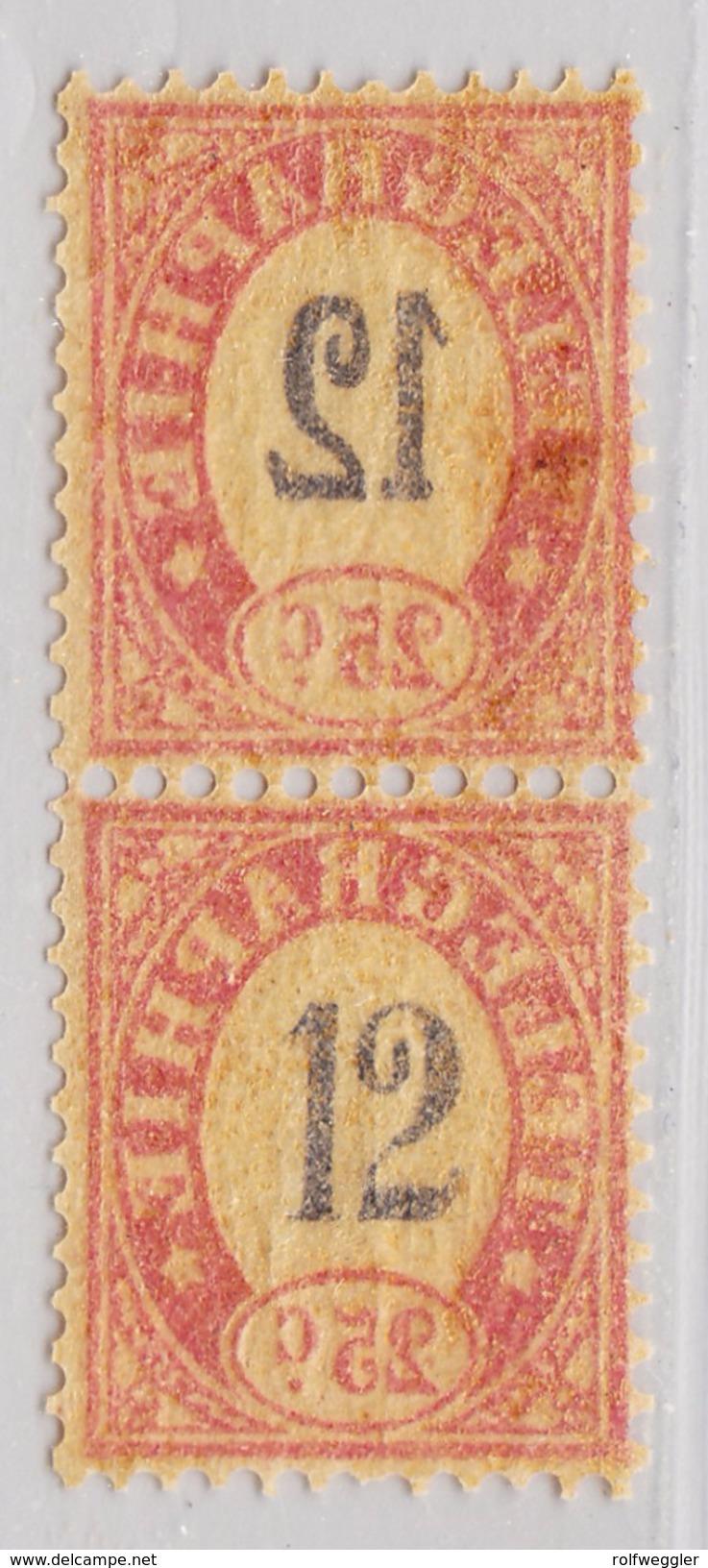 Schweiz Telegraphen-Marke 1868 Probedruck 25c Senkrechtes Paar Auf Seidenpapier - Télégraphe