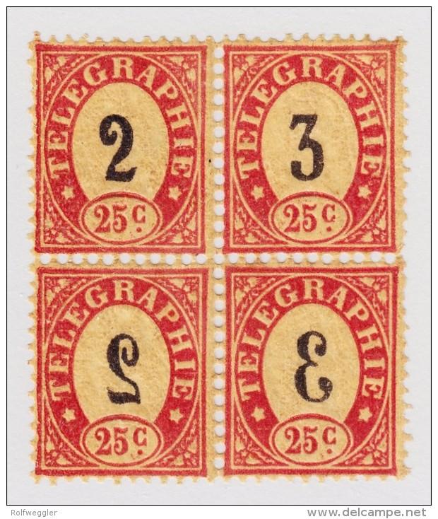 Schweiz Telegraphen-Marke 1868 Probedruck 25c Im Viererblock - Télégraphe