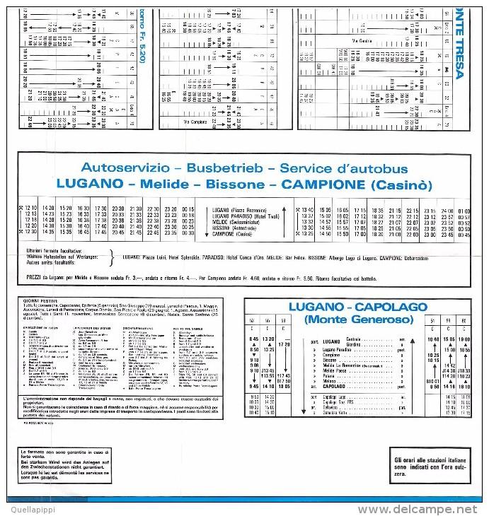 """04813 """"LAGO DI LUGANO 1979 - ORARIO - TIMETABLE - FAHRPLAN - HORAIRE"""" PIEGHEVOLE ORIGINALE - Europe"""