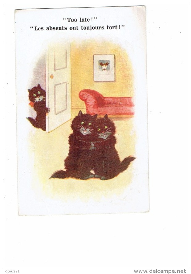 Cpa Fantaisie Chat - Chats Noirs Amoureux - Les Absents Ont Toujours Tort - Comique Series 7608 - Florence House - Chats