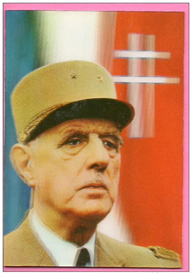 Carte Postale En Relief Avec Portrait De Charles De Gaulle - Zonder Classificatie