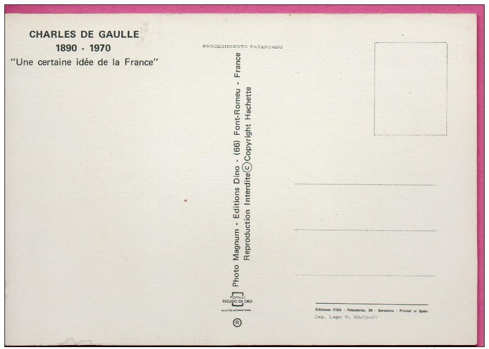 Carte Postale En Relief Avec Portrait De Charles De Gaulle - Ohne Zuordnung