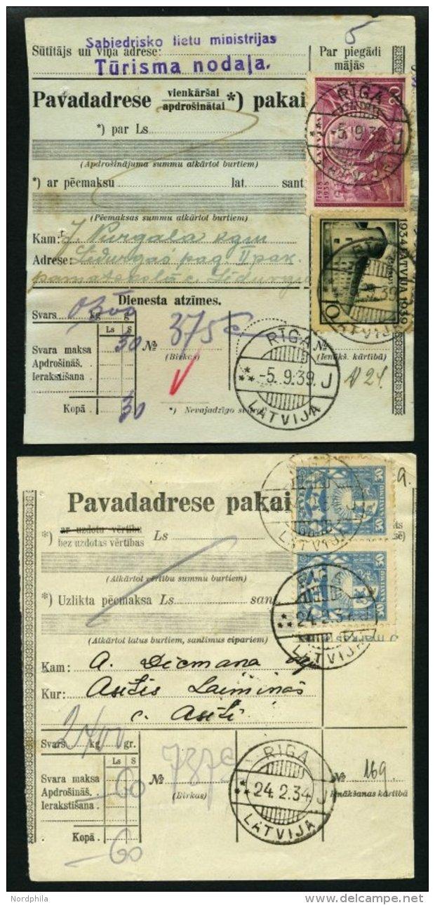 LETTLAND U.a. 267,273 BRIEF, 1934/9, 20 S. Lilarosa Und 10 S. Schwarzgrün, 2 Verschiedene Frankierte Paketkarten, P - Latvia