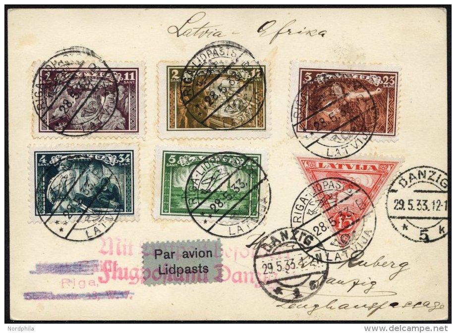 LETTLAND 193-97A BRIEF, 28.5.1933, Aizsargi II, Gezähnt, Auf Afrika-Flug Bis Danzig, Sog. Mitläufer, Prachtkar - Latvia