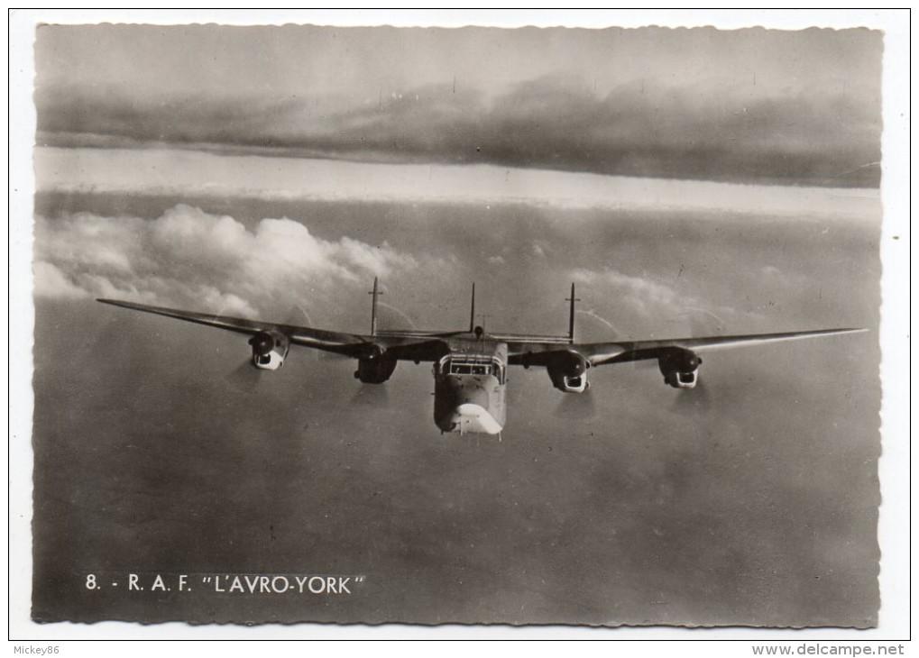 """Avion De Guerre- """" R.A.F--L'AVRO-YORK  """" ,cpsm 15 X 10 N° 8  éd  Superluxe.......à Saisir - Autres"""