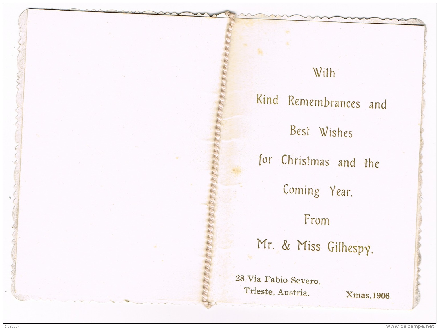 RB 1116 - 1906 Remembrance Xmas Christmas Card - Trieste Austria (Now Italy) - Mitteilung