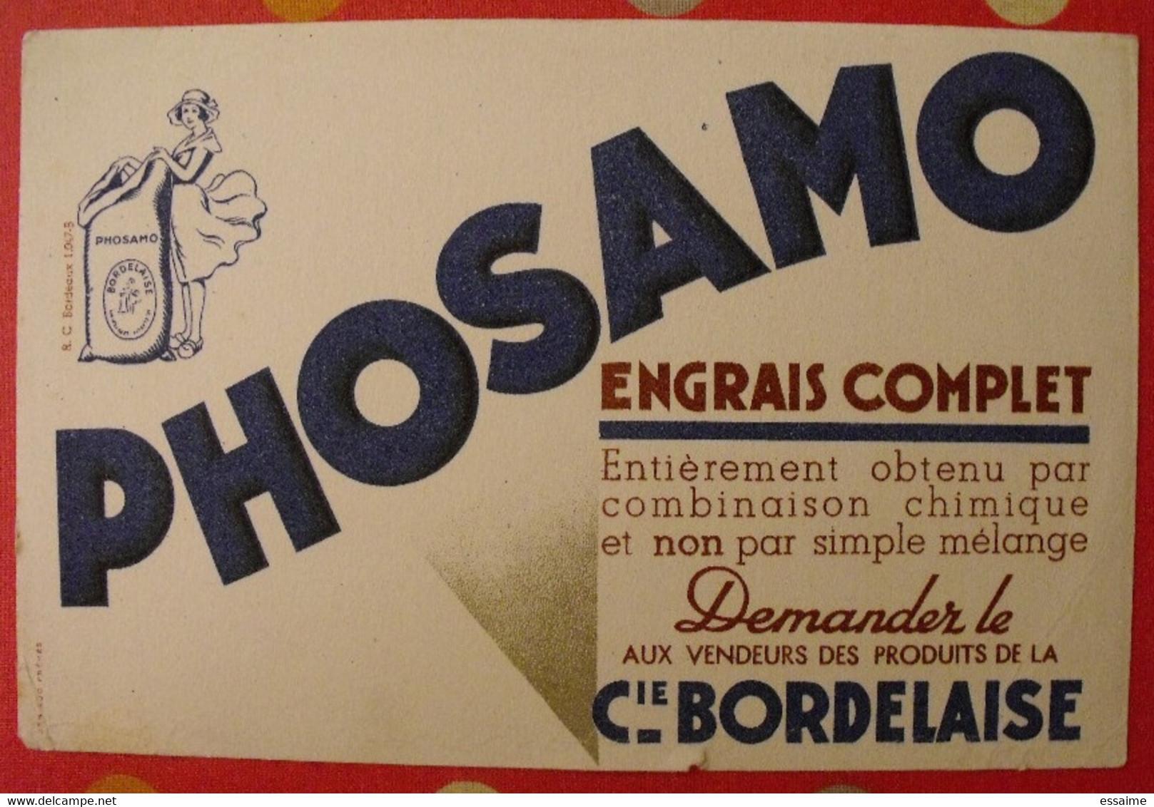 Buvard Phosamo Engrais Complet Compagnie  Bordelaise. Vers 1950 - Agriculture