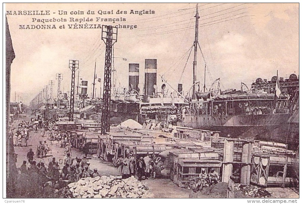 """Cpa Bateau Identifié """" Madonna """" """" Venezia """" En Charge Port De Marseille Cie Fabre Reproduction Photo - Piroscafi"""