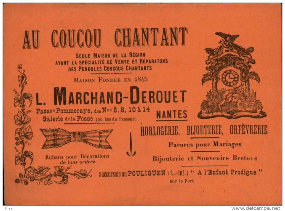 """44 - NANTES - Carton Publicitaire """"Au Coucou Chantant"""" - Pendules - Horlogerie - Carton Faisant Office De Garantie - Publicités"""