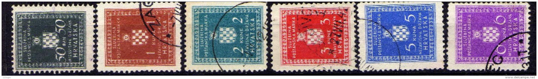 Kroatien (NDH) Dienstmarken 1942 Mi 2; 4-6; 9-10 X A, Gestempelt [270816XVI] - Croatia