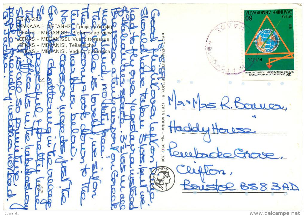 Meganissi, Lefkada, Greece Postcard Posted 1988 Stamp - Greece