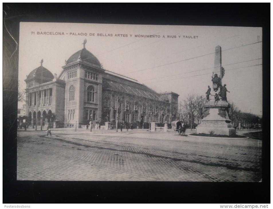 1757) España Spain Barcelona Palacio De Bellas Artes Y Monumento A Rius Y Taulet  Ed. Missé H. Barna - Barcelona
