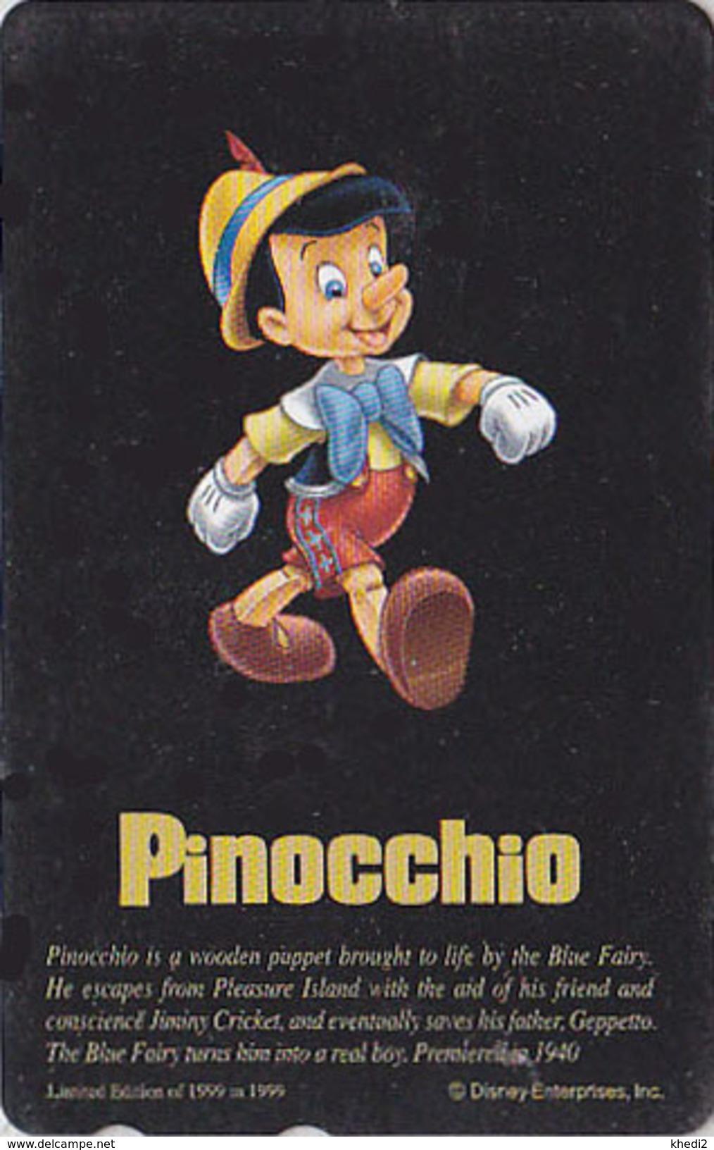 Télécarte NEUVE Japon DISNEY / 110-206592 - SERIE NOIRE - PINOCCHIO / Italy - Japan MINT Movie Phonecard - Disney