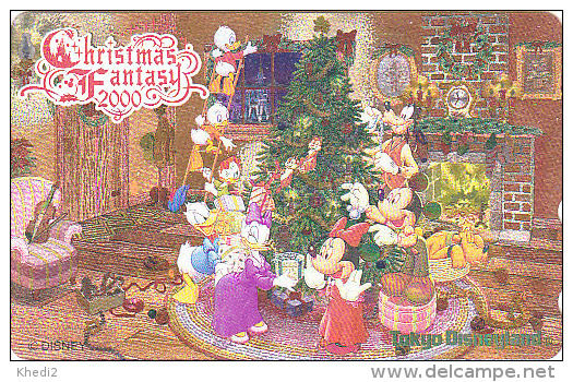 Télécarte NEUVE Dorée OR Japon / 110-212029 - DISNEY NOEL CHRISTMAS FANTASY 2000 - DISNEYLAND Japan MINT GOLD Phonecard - Disney