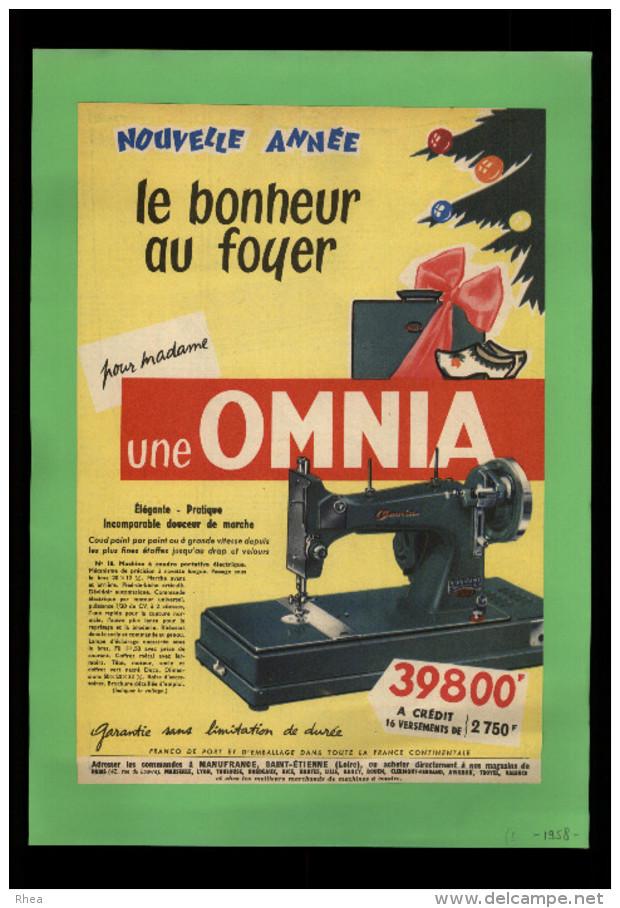 PUBLICITES - MACHINE A COUDRE OMNIA - Publicité Issue D´une Revue De 1958 Collée Sur Feuille A 4 - Publicités