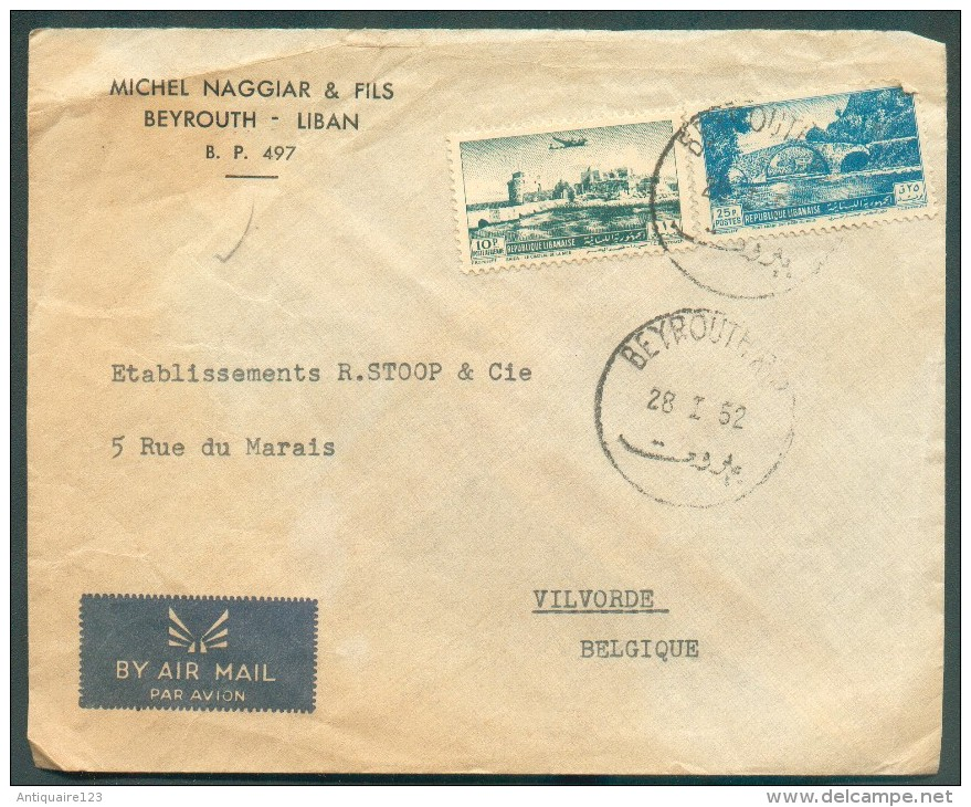 Airmail Cover From BEYROUTH 1952 To Vilvorde (BElgium) - 11385 - Liban