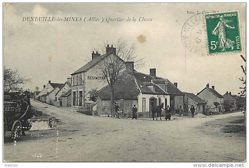 - Depts Div.-ref-JJ568- Allier - Deneuille Les Mines -quartier De La Chaux- Restaurant - Restaurants - Hotel Du Midi - - France