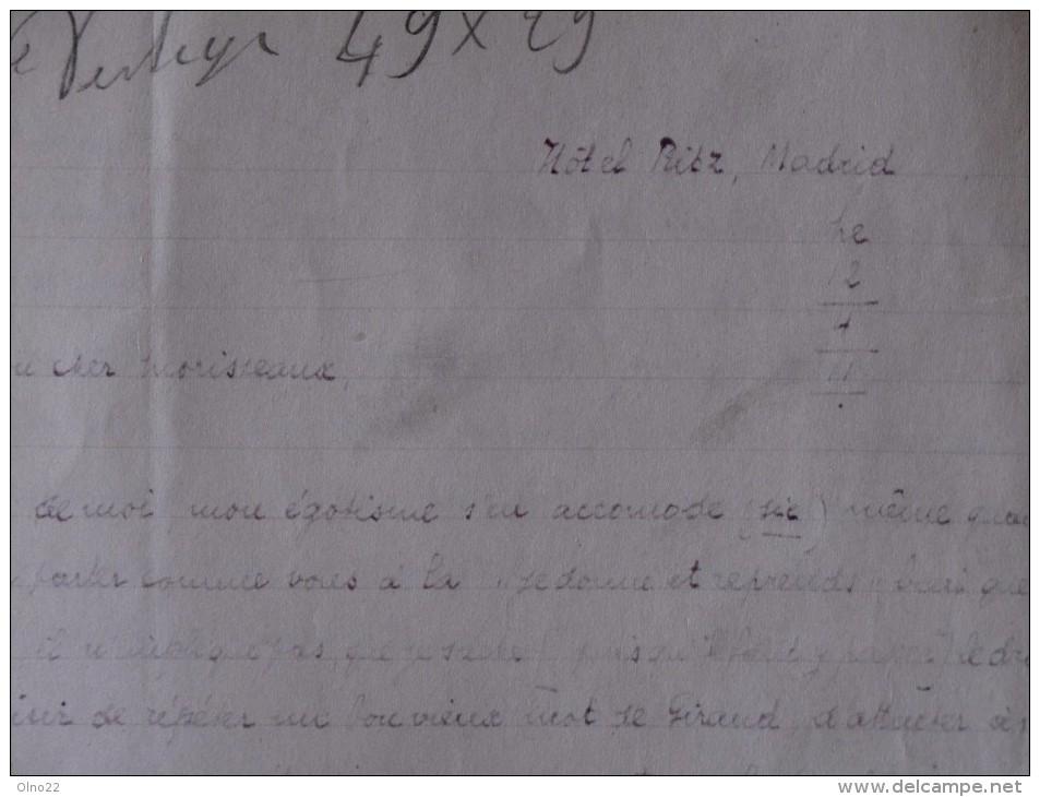 F.CHARLES MORISSEAUX, 8 Pages Manuscrites Avec Corrections, Signée, Datée : MADRID Hotel Ritz, Le 12/4/11 - Manuscrits