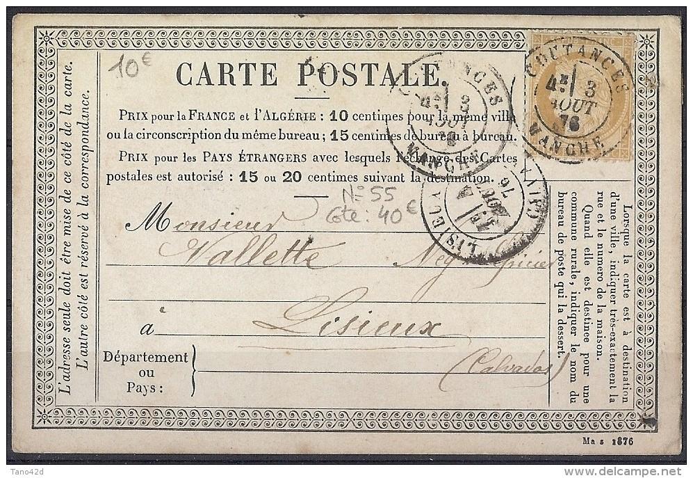 LBR36- FRANCE  CPU MARS 1876  DATE INCOMPLETE  COUTANCES / LISIEUX 3/8/1876 - Entiers Postaux