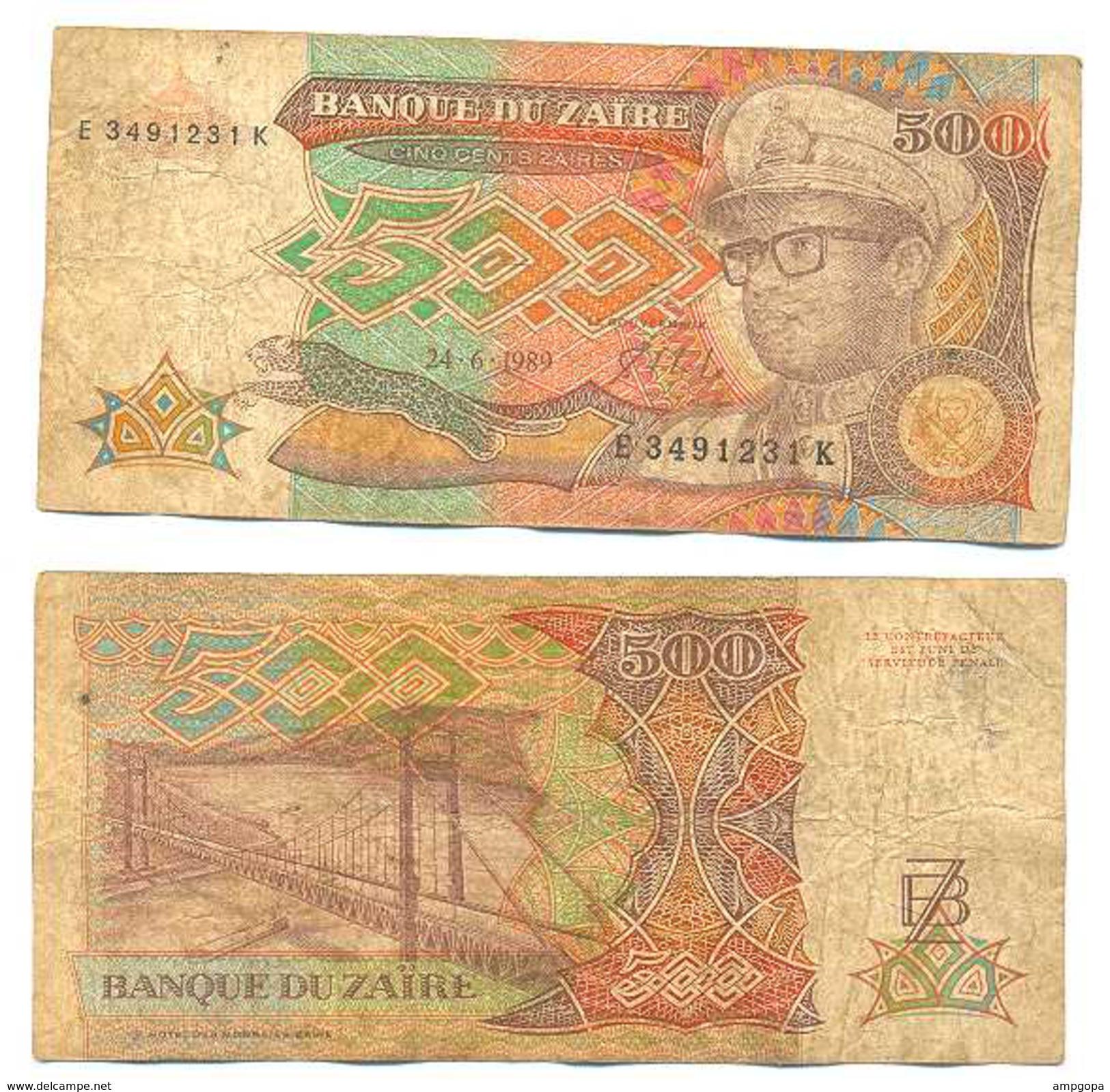 Zaire 500 Zaires 1989 Pick 34,a Ref 22254 - Zaire