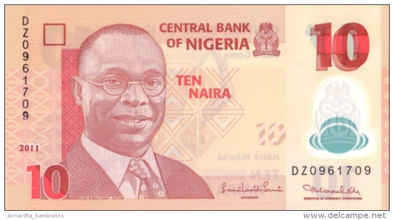 NIGERIA 10 NAIRA 2011 P-39 UNC 7 DIGIT SER. SIGN. 19.  [ NG235g ] - Nigeria