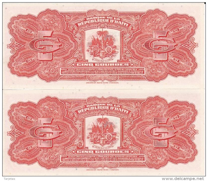 PAREJA CORRELATIVA DE HAITI DE 5 GOURDES DEL AÑO 1979   (BANK NOTE) SIN CIRCULAR-UNCIRCULATED - Haiti