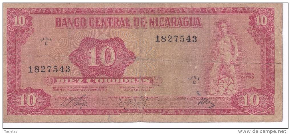 BILLETE DE NICARAGUA DE 10 CORDOBAS DEL AÑO 1972   (BANK NOTE) - Nicaragua