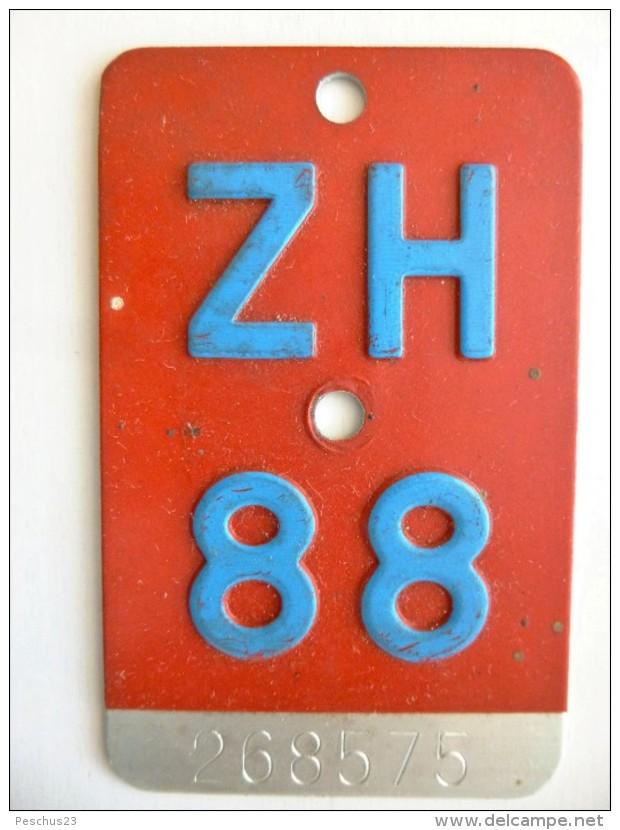 """SCHWEIZ / SUISSE // Alte VELONUMMER 1988, Kanton ZÜRICH, """"ZH 88"""" - Number Plates"""