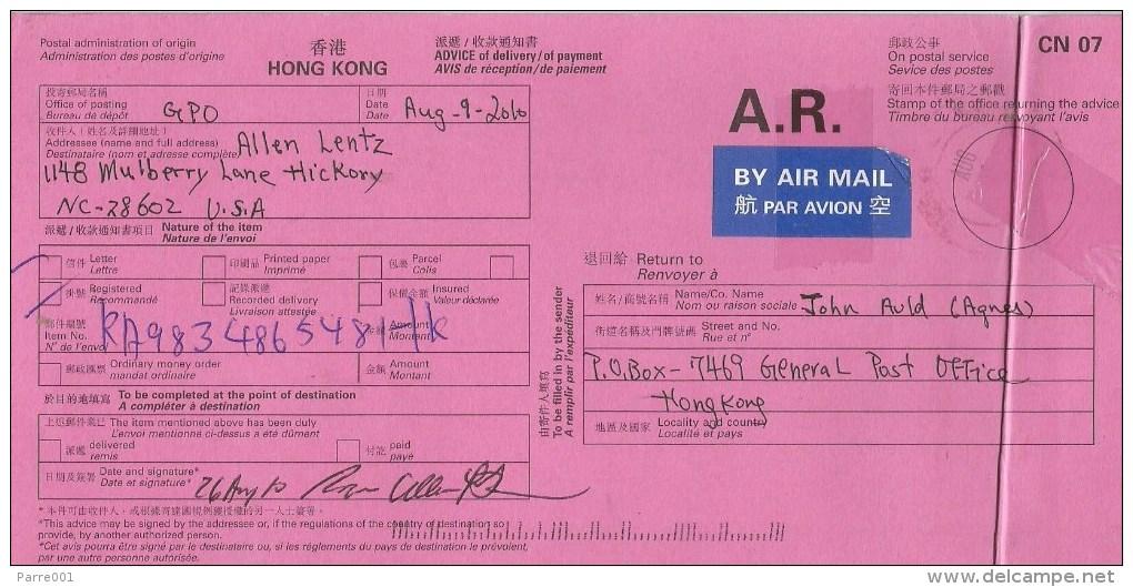 Hong Kong 2010 AR Advice De Reception Return Card From Hickory USA - 1997-... Région Administrative Chinoise