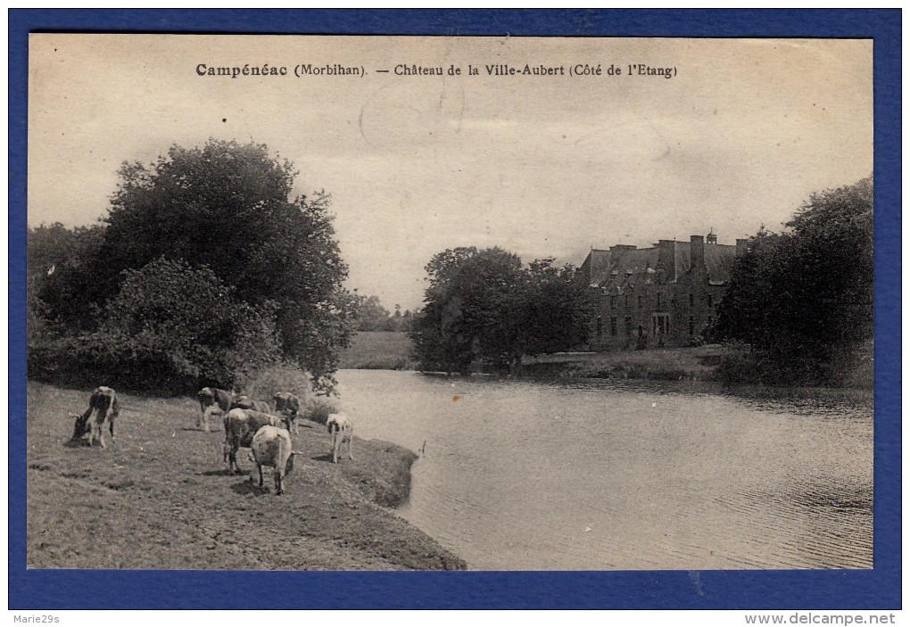 56 CAMPENEAC Château De La Ville-Aubert, Côté De L'étang : Vaches - France