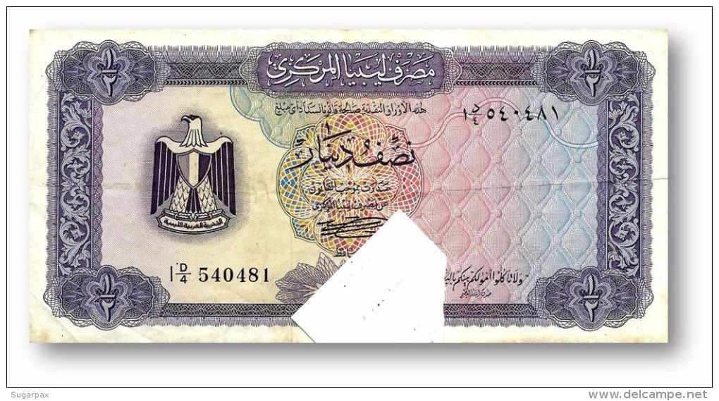 LIBYA - 1/2 Dinar - (1972 ) - P 34.b - Sign. 1 - Serie I ( 160 X 79 ) Mm - 3 Scans - Libye