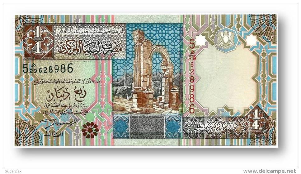 LIBYA - 1/4 Dinar - ( 2002 ) - P 62 - Unc. - Sign. 4 - Serie 5 - 2 Scans - Libye