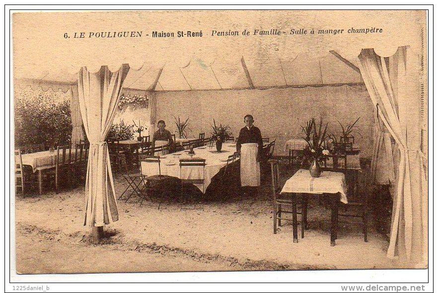Cpa  44  LE POULIGUEN   Maison Rene  Pension De Famille  Salle A Manger Champetre - Le Pouliguen