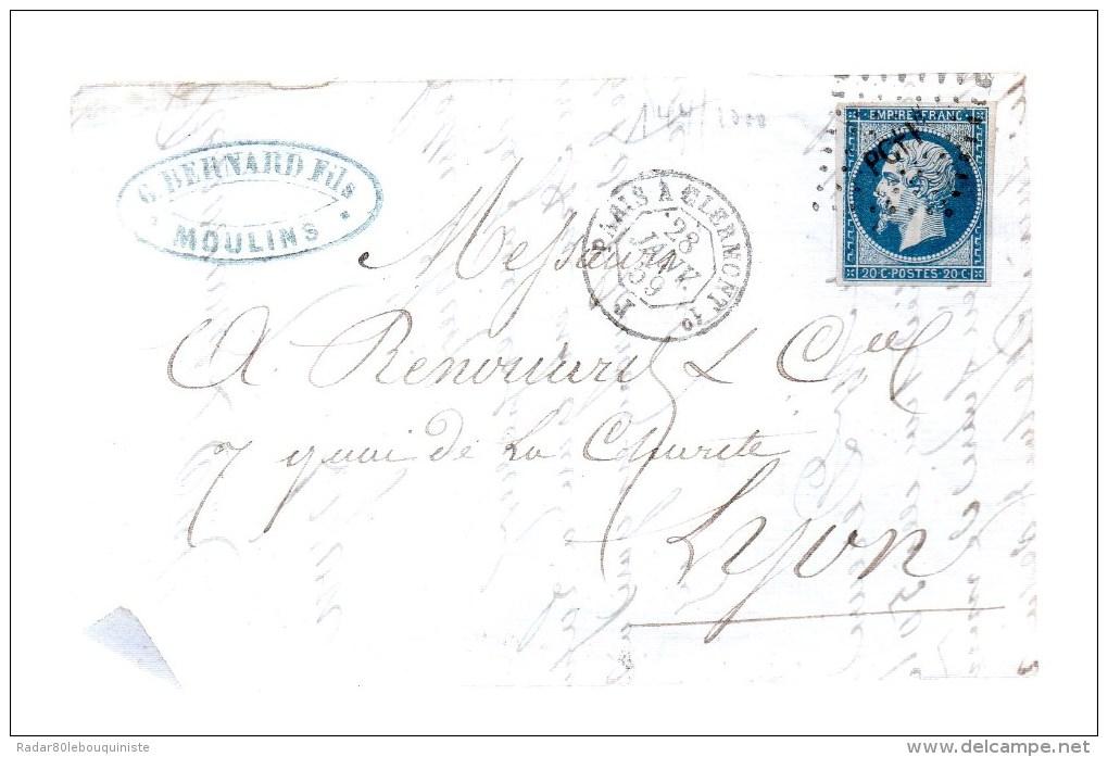 Griffe Ambulant Paris Pcf 1°.sur Empire Français 20c Bleu Non Dentelé.cad: Paris A Clermont 1° J 28 Janv 59.fragment - Marcophilie (Lettres)
